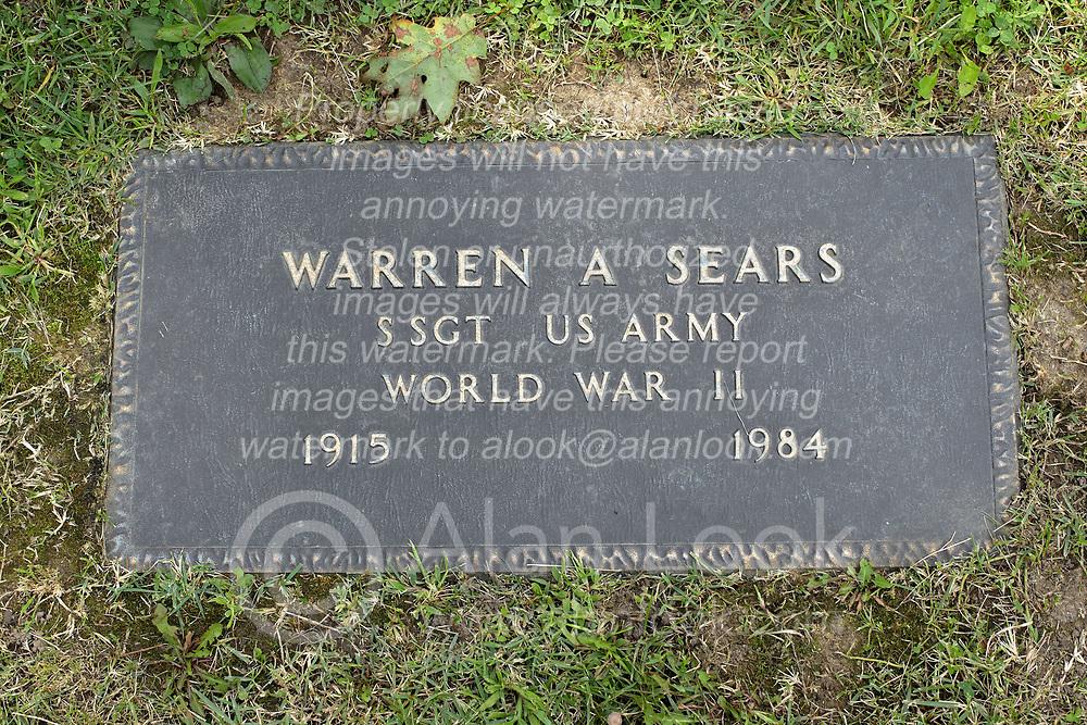 31 August 2017:   Veterans graves in Park Hill Cemetery in eastern McLean County.<br /> <br /> Warren A Sears  Staff Sergeant US Army World War II  1915 1984