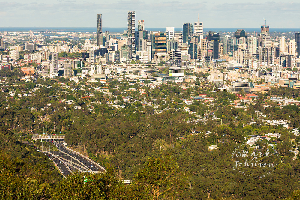 Brisbane city skyline from Mt Cootha viewpoint, Queensland, Australia