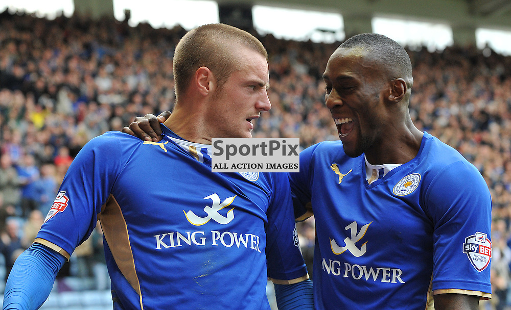 Goal scorer Jamie Vardy of Leicester City celebrating with Lloyd Dyer of Leicester City.<br /> Image taken during the Skybet Championship game between Leicester City &amp; Bournemouth at the King Power Stadium, Leicester held on the 26th October 2013.<br /> WAYNE NEAL | SPORTPIX.ORG.UK