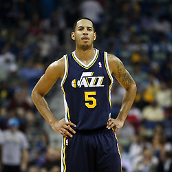 April 11, 2011; New Orleans, LA, USA; Utah Jazz point guard Devin Harris (5) against the New Orleans Hornets during a game at the New Orleans Arena. The Jazz defeated the Hornets 90-78.  Mandatory Credit: Derick E. Hingle