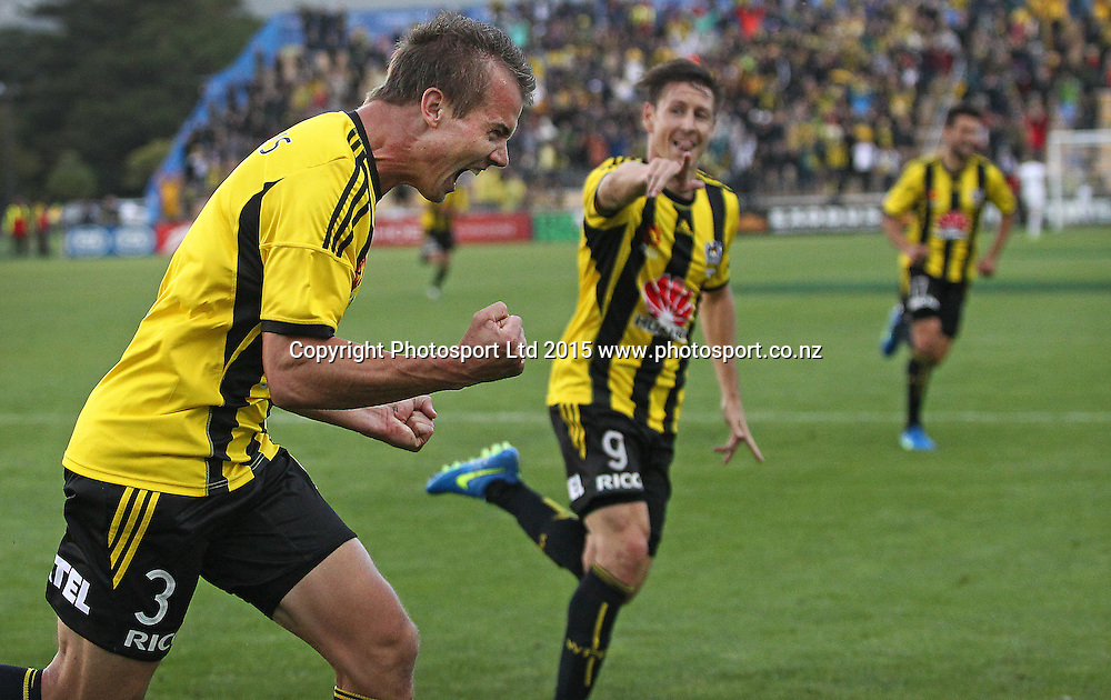 Phoenix' Joel Griffiths celebrates a his goal, in his first match for the Phoenix  during the A-League football match between the Wellington Phoenix & Adelaide United, at the Hutt Recreational Ground, Wellington, 7th March 2015. Copyright Photo.: Grant Down / www.photosport.co.nz