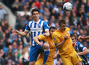 Brighton central defender Lewis Dunk looks to win the ball at a corner during the Sky Bet Championship match between Brighton and Hove Albion and Preston North End at the American Express Community Stadium, Brighton and Hove, England on 24 October 2015. Photo by Bennett Dean.