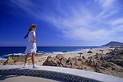 Image of a tourist enjoying Cabo San Lucas, Baja California Sur, Mexico, model released