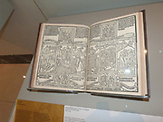 Blockbook Bible for the poor c 1465. Each page was printed from a single woodblock, a method that was used for works in high demand. Although this book is called a bible for the poor, the complex format with scenes from Christ's life paralleled by ones from the Old Testament, along with an explanatory text suggests an educated, well-off readership.