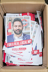 © Licensed to London News Pictures. 03/11/2019. London, UK. A box of Ali Milani general election campaign leaflets. Mr Milani is the Labour Party General Election candidate for in Uxbridge & South Ruislip. He hopes to defeat British Prime Minister Boris Johnson who is MP for the constituency. Photo credit: Ray Tang/LNP