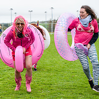 "REPRO FREE<br /> Sandra Gunning and Clare O'Connell from the Pink Ladies Ballincollig racing their inflatable mascots pictured at the 30th Anniversary Heineken Kinsale 7s at the weekend. <br /> Picture. John Allen<br /> <br /> PRESS RELEASE<br /> For Immediate Release: <br /> <br /> 30th ANNIVERSARY HEINEKEN KINSALE 7s KICKS OFF<br /> The Heineken Kinsale 7s take place in Kinsale over the May Bank Holiday weekend, 5th & 6th May 2018. This is Ireland's largest rugby 7s tournament and builds on its success each year, with over 8,000 visitors expected in the Cork seaside town.<br /> The Heineken Kinsale 7s promises to be an action-packed weekend of competitive men and women's running rugby for an attractive prize fund, trophies and medals. A high calibre of rugby players across all competitions is anticipated as well as a fun social programme. <br /> Mens Elite Champions, Projecx Waterboys from Scotland return to Kinsale to defend their title. They will compete against the Swedish Men's 7s, Speranza 22 from Dubai, The Camarthen Warriors and Ponty Butchers from Wales, CLIC Sargent Godfathers from London and University College Dublin.<br /> In Men's Open competition, The King Prawns from London are defending their title against challengers Fuze 7s, Session Motts and DISCO Bals will be challenging defending champions <br /> Former Irish International, Tania Rosser returns as player/manager for the WRR Ravens invitational side who will be looking forward to challenging The Ponty Butchers Women's team from Wales, contenders in the women's elite competition sponsored by Hayes Caravan Services.  Other women's teams include Team Boom, The All Craics, Capsized and the Ballincollig Pink Ladies who enjoy the women's social competition.<br /> Pat Maher, Event and Sponsorship Manager, Heineken Ireland said: ""We are delighted to continue our support and sponsorship of the Heineken Kinsale 7s and look forward to celebrating the 30th Anniversary in Kinsale with top-quality competitive rugby. We thank everyone involved in Kinsale RFC for thei"