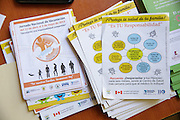 Leaflets promoting national vaccination days and handwashing at the health center in San Esteban, Honduras on Thursday April 25, 2013.