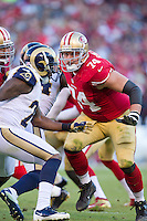 11 November 2012: Tackle (74) Joe Staley of the San Francisco 49ers in game action against the St. Louis Rams during the second half of a 24-24 tie between the 49ers and the Rams in an NFL football game at Candlestick Park in San Francisco, CA.