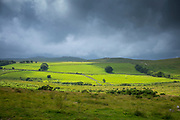 Dark cloud over Dartmoor panoramic landscape in Devon county, England