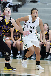 12 December 2015:  Erin Crownover and Sierra Leggett during an NCAA women's basketball game between the Wisconsin Stevens Point Pointers and the Illinois Wesleyan Titans in Shirk Center, Bloomington IL