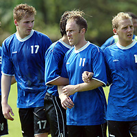 St Johnstone Training...18.10.02<br />Ryan Stevenson (No 17) looking for a start in tommorow's line up against St Mirren with team mates, Keigan Parker, Mark Reilly and Marc McCulloch<br /><br />Picture by Graeme Hart.<br />Copyright Perthshire Picture Agency<br />Tel: 01738 623350  Mobile: 07990 594431