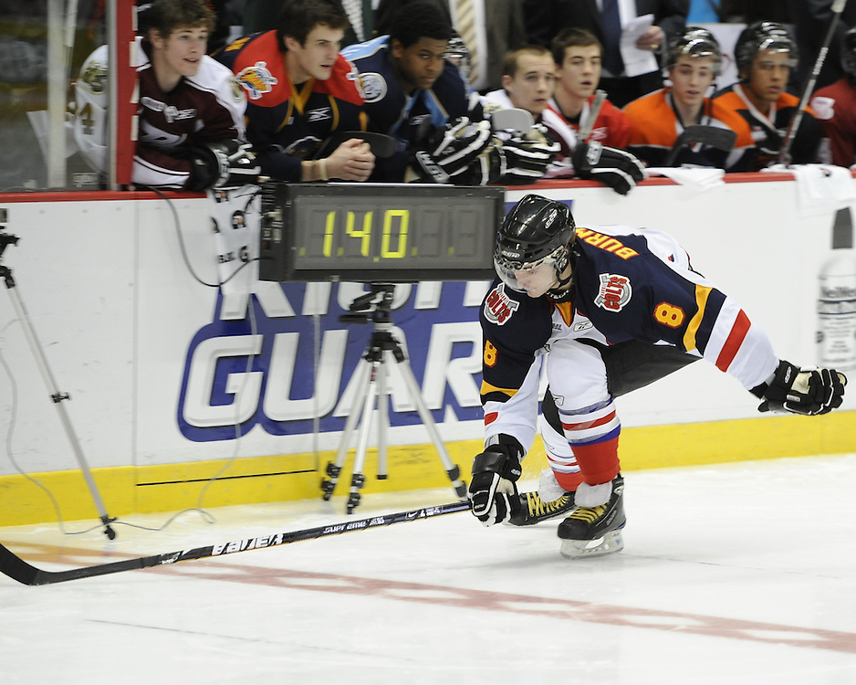 Alexander Burmistrov of the Barrie Colts in the Home Hardware CHL Top Prospects Skills Competition in Windsor, ON on Tuesday. Photo by Aaron Bell/OHL Images.