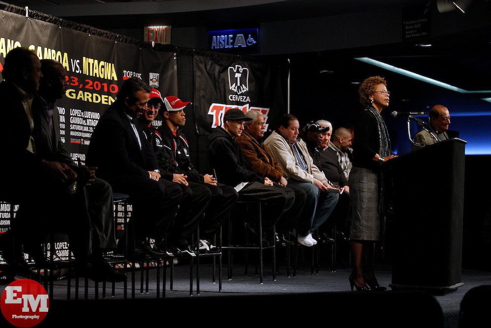 Jan 21, 2010; New York, NY; USA; NYSAC Melvina Lathan speaks at the press conference for the upcoming fight between WBO Champion Steven Luevano and challenger Juan Manuel Lopez.  The two will meet on Saturday at the Theater at Madison Square Garden.