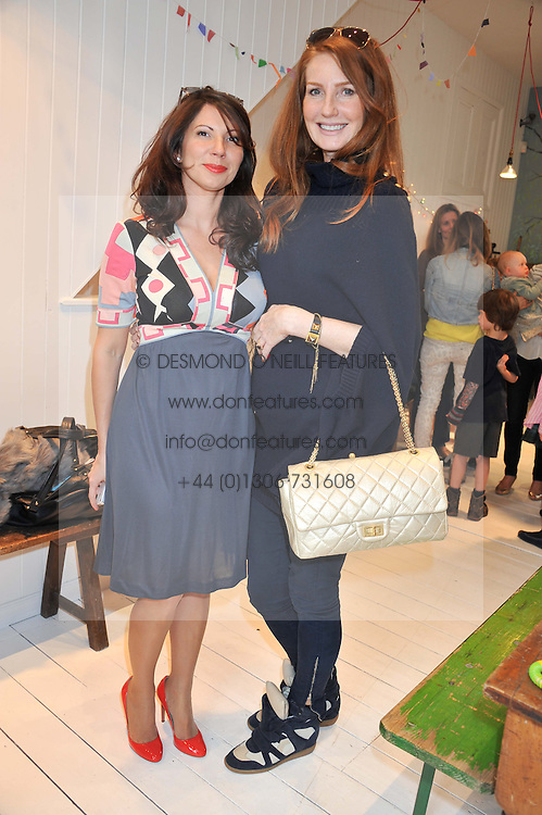 Left to right, CHLOE BAIRD MURRAY and ANGELA DUNN at the launch of the Natalia Dress, inspired by Natalia Vodianova to benefit her Naked Heart Foundation held at Caramel Baby&Child, 77 Ledbury Road, London W11 on 16th May 2012.