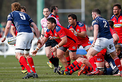 Bristol Rugby Prop Gaston Cortes offloads - Mandatory byline: Rogan Thomson/JMP - 02/04/2016 - RUGBY UNION - Richmond Athletic Ground - London, England - London Scottish v Bristol Rugby - Greene King IPA Championship.