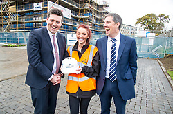Pictured: Jamie Hepburn met Laura Doherty, Trainee Assistant Site Manager (Roberston's 100th apprentice) and Stewart Shearer, Managing Director of Robertson's Partnership Homes.<br /> <br /> Minister for Employability and Training Jamie Hepburn  responded to the latest Labour market statistics when he visited Robertson Partnership Homes in Edinburgh today and met some of their construction workers<br /> <br /> <br /> Ger Harley | EEm 15 November 2017