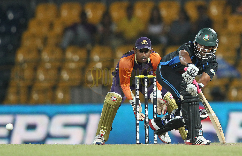 Tamim Iqbal of Wayamba United plays a delivery through the legside during match 20 of the Sri Lankan Premier League between Ruhuna Royals and Wayamba United held at the Premadasa Stadium in Colombo, Sri Lanka on the 26th August 2012. .Photo by Shaun Roy/SPORTZPICS/SLPL