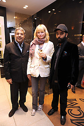 Left to right, The MAHARAJAH OF KAPURTHALA, film producer ARIANE MOODY and JP SINGH at the MCM Christmas party held at their store at 5 Sloane Street, London on 26th November 2008.
