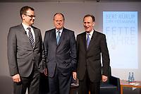 """28 FEB 2012, BERLIN/GERMANY:<br /> Dirk Heilmann, Chefoekonom Handelsblatt, Peer Steinbrueck, SPD, Bundesminister a.D., Bert Ruerup, Gruender und Vorstandsmitglied der MaschmeyerRuerup AG, (v.L.n.R.), Buchpraesentation """"Fette Jahre"""" von Ruerup und Heilmann, Deutsches Institut fuer Wirtschaftsforschung, DIW<br /> IMAGE: 20120228-01-002<br /> KEYWORDS: Buchvorstellung, Buchpräsentation, Peer Steinbrück, Bert Rürup"""