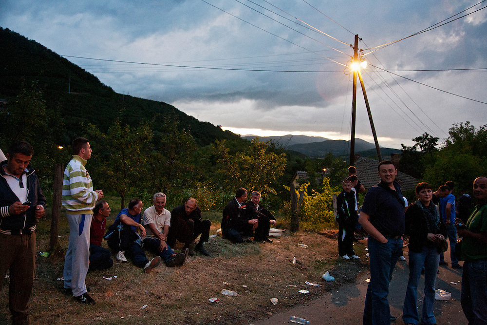 Serbs blocking the road during a stand-off with KFOR...Serbian roadblocks along the main Pristina-Leposavic road in the village of Rudare, near Kosovska Mitrovica, Kosovo. Friday July 29, 2011..Border crisis, July 2011