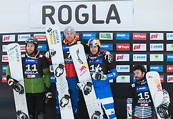 1st. Karl Benjamin, 2nd. Yankov Radoslav, 3th. Fischnaller Roland, 4th. Dufour Sylvian during trophy ceremony after the men's Snowboard giant slalom of the FIS Snowboard World Cup 2017/18 in Rogla, Slovenia, on January 21, 2018. Photo by Urban Meglic / Sportida