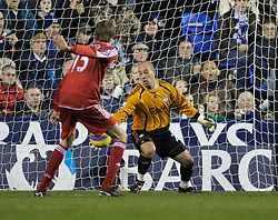 Reading, England - Saturday, December 8, 2007: Liverpool's goalkeeper Jose Pepe Reina is beaten for the second Reading goal during the Premiership match at the Madejski Stadium. (Photo by David Rawcliffe/Propaganda)