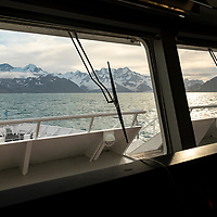 View from the bridge of the National Geographic Orion while exploring in Royal Bay on the north coast of South Georgia Island.