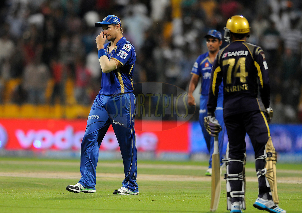 Shane Watson captain of the Rajatshan Royals walks back after the scores were level during match 19 of the Pepsi Indian Premier League 2014 Season between The Kolkata Knight Riders and the Rajasthan Royals held at the Sheikh Zayed Stadium, Abu Dhabi, United Arab Emirates on the 29th April 2014<br /> <br /> Photo by Pal Pillai / IPL / SPORTZPICS