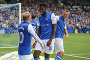 Sheffield Wednesday forward Lucas Joao (18) celebrates his goal 2-2 with Sheffield Wednesday midfielder Barry Bannan (10)  during the EFL Sky Bet Championship match between Sheffield Wednesday and Sheffield Utd at Hillsborough, Sheffield, England on 24 September 2017. Photo by Phil Duncan.