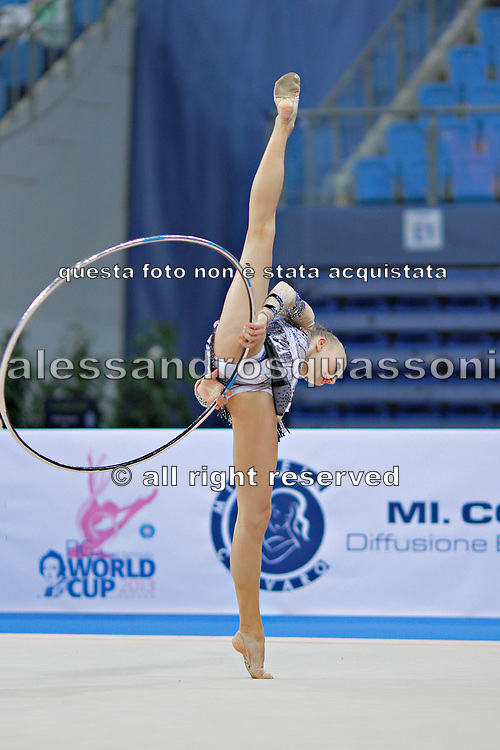 Davidova Valeriya during qualifying at hoop in Pesaro World Cup at Adriatic Arena on April 26, 2013. Valeriya was born December 15, 1997 in Tashkent,Uzbekistan. She is an Uzbek individual rhythmic gymnast.
