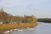 London, Great Britain,   crews marshaling at Chiswick Bridge, at the start of the 2009Veterans Fours of the River Race, raced over the Championship Course, Mortlake to Putney, on the River Thames.   Sunday, 15/11/2008. [Mandatory Credit: Peter Spurrier/Intersport Images]