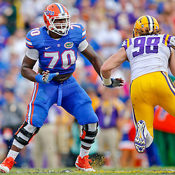 Oct 12, 2013; Baton Rouge, LA, USA; LSU Tigers offensive tackle La'el Collins (70) blocks against LSU Tigers defensive end Jordan Allen (98) during the second half of a game at Tiger Stadium. LSU defeated Florida 17-6. Mandatory Credit: Derick E. Hingle-USA TODAY Sports