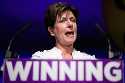 ©  London News Pictures. 17/09/2016. Bournemouth, UK. Party leader DIANE JAMES speaking at Day 2 of the 2016 UKIP Autumn Conference, held at the Bournemouth International Centre in Bournemouth, Dorset. On Friday, the party elected Diane James as their new leader, following Nigel Farage resignation after the UK voted to leave the EU in a referendum..  Photo credit: Ben Cawthra/LNP