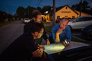 The Rev. Dr. John Denninger, president of the LCMS Southeastern District, plans a route to visit parishes affected by Hurricane Florence with the Rev. Michael Meyer, manager of LCMS Disaster Response, and the Rev. Dr. Ross Johnson, director of LCMS Disaster Response, on Monday, Sept. 17, 2018, in Clayton, N.C.
