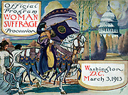 Cover of program for the National American Women's Suffrage Association procession, showing woman, in elaborate attire, with cape, blowing long horn, from which is draped a 'votes for women' banner, on decorated horse, with U.S. Capitol in background.
