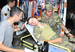 A total of 590 Turkish soldiers were hospitalized late Saturday, on 17 June, in western Manisa province, Turkey, following complaints of nausea and vomiting. The soldiers' complaints at the 1st Infantry Training Battallion Command began after the dinner meal. Police early Sunday arrested 19 employees, including executives, of the catering company that provides food to the military at the compound where the incident occurred. On May 23, more than 1,000 soldiers were hospitalized after the dinner and one died. Photo by Ersan Erdogan/Dha/Depo Photos/ABACAPRESS.COM