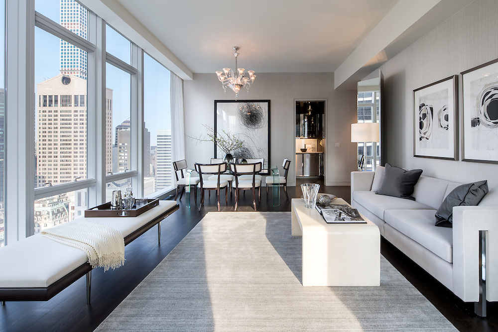 A model apartment at Baccarat Hotel and Residences in New York City.