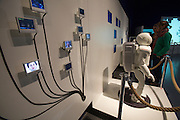 Linz, Cultural Capital of Europe 2009. Ars Electronica Center. Level -3: Main Gallery. New Views of Humankind. RoboLab. Honda's famous ASIMO (Advanced Step in Innovative Mobility) humanoid robot.