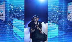 Andy Murray walks out for the start of his match against Marin Cilic during day two of the Barclays ATP World Tour Finals at The O2, London.