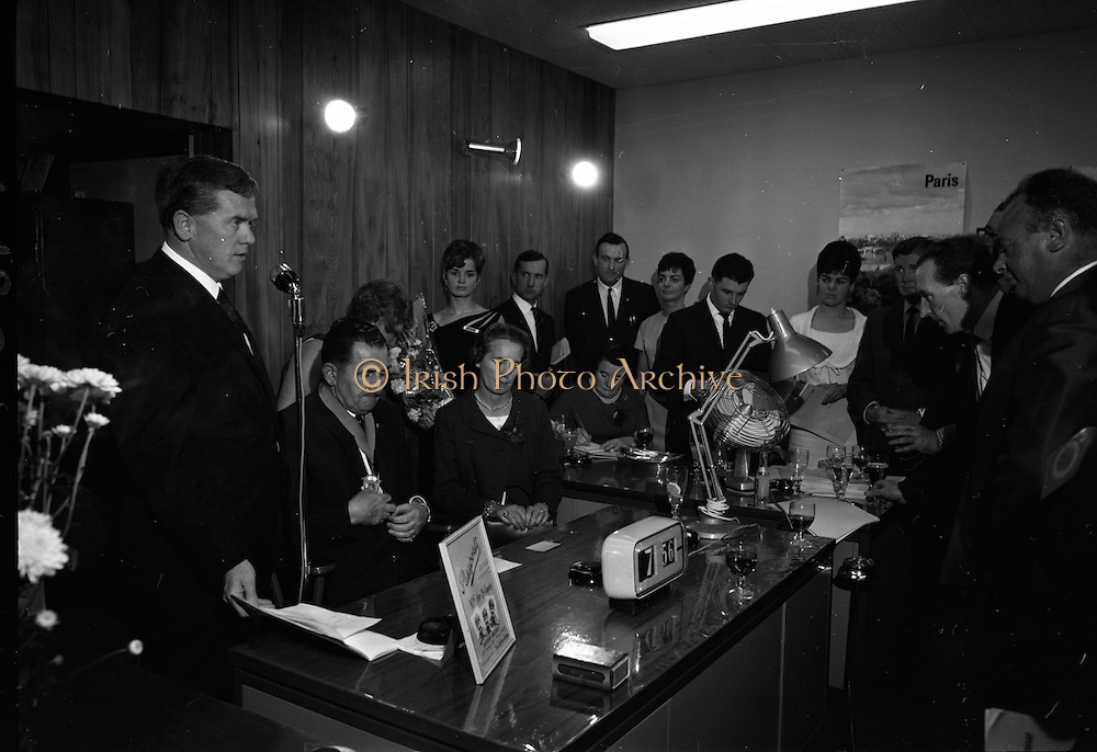 19/07/1967<br /> 07/19/1967<br /> 19 July 1967<br /> Opening of Intercontinental Travel Ltd. at Crumlin Cross, Dublin. The company, an associate company of the Loftus group of Companies was the first Irish Travel Agency to be opened in the outer  suburbs of Dublin.<br /> Photo shows  Mr. J.J. Lotus speaking at the opening. Also included are Mr. Oliver Flanagan, T.D., President of the Irish Auctioneers Association; Mrs Flanagan and Mrs J.J. Loftus, (with flowers) Director of the Loftus Group.