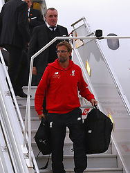 BASEL, SWITZERLAND - MAY 16: Liverpool's manager Jürgen Klopp arrives at Basel airport ahead of the UEFA Europa League Final against Sevilla. (Photo by UEFA/Pool)