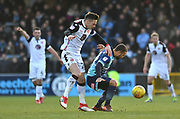Wycombe Wanderers Curtis Thompson (29) and Morecambe's Michael Rose (24) during the EFL Sky Bet League 2 match between Wycombe Wanderers and Morecambe at Adams Park, High Wycombe, England on 24 February 2018. Picture by Alistair Wilson.