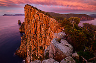 Australia, Tasmania, Tasman Peninsula, Tasman National Park, Cape Hauy, Seacliffs at sunrise