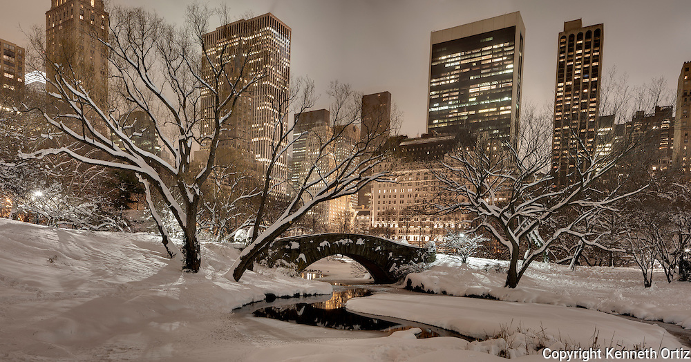 Night time at the South East corner of Central Park in New york City.