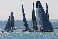 © Licensed to London News Pictures. 23/07/2016. Portsmouth, United Kingdom.  America's Cup teams competing in the first day of racing for the America's Cup World Series (ACWS) in Portsmouth this weekend, 22nd-24th July 2016. British Olympic sailing legend, Sir Ben Ainslie, is leading his all-British team, Land Rover BAR, against other teams in a battle to qualify for a place in the two team America's Cup final, to be held in Bermuda in 2017. Photo credit: Rob Arnold/LNP