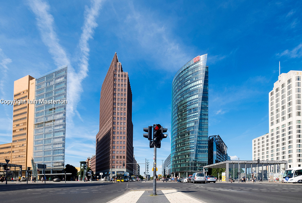 Cityscape of Potsdamer Platz modern business and entertainment district in Berlin, Germany