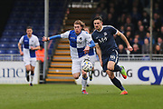 Southend United Ryan Leonard (18) battles for the ball with Bristol Rovers Luke James (29) second half during the EFL Sky Bet League 1 match between Bristol Rovers and Southend United at the Memorial Stadium, Bristol, England on 11 March 2017. Photo by Gary Learmonth.