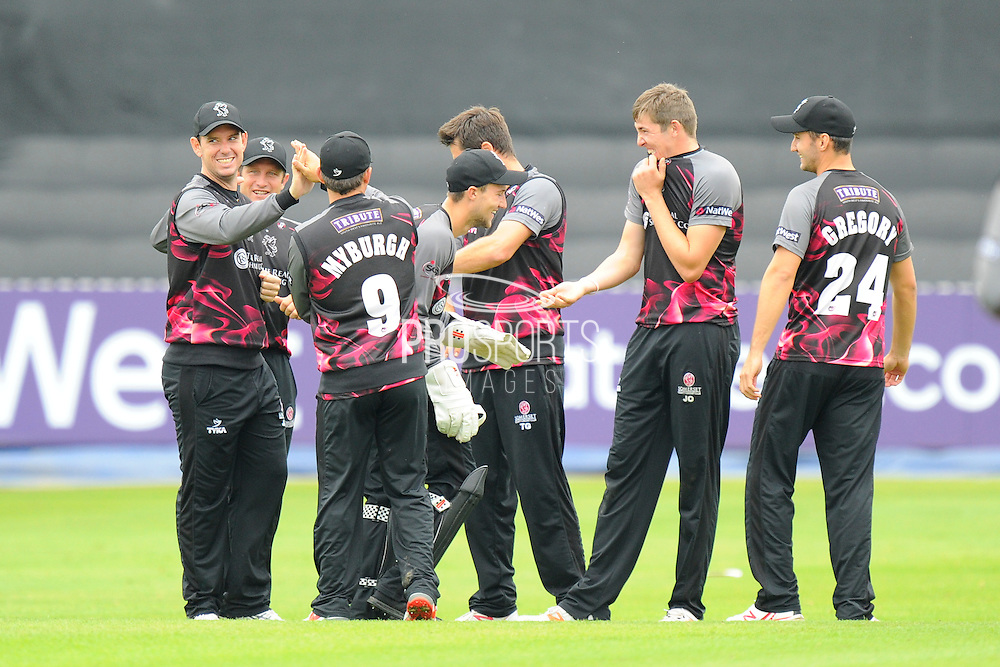 Somerset celebrate taking the wicket od Hampshire's Darren Sammy during the NatWest T20 Blast South Group match between Somerset County Cricket Club and Hampshire County Cricket Club at the Cooper Associates County Ground, Taunton, United Kingdom on 19 June 2016. Photo by Graham Hunt.