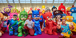 © Licensed to London News Pictures. 24/01/2017. LONDON, UK.Costume character line-up at the Toy Fair 2017 trade exhibition at Olympia.   CAPTION.  Photo credit: Cliff Hide/LNP