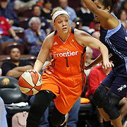 UNCASVILLE, CONNECTICUT- JUNE 3:   Rachel Banham #1 of the Connecticut Sun drives past Carla Cortijo #8 of the Atlanta Dream during the Atlanta Dream Vs Connecticut Sun, WNBA regular season game at Mohegan Sun Arena on June 3, 2016 in Uncasville, Connecticut. (Photo by Tim Clayton/Corbis via Getty Images)